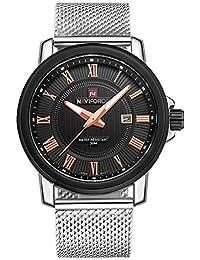 fc514cf92ed3 Naviforce reloj de los hombres de negocio clásico acero inoxidable  analógico reloj de cuarzo (negro