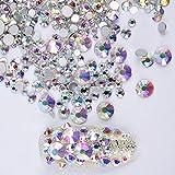 SUPVOX 1440 UNIDS Rhinestone Nail Art AB Nail Art Decoraciones Gemas de Cristal Redondo Piedras para