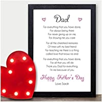 Happy Fathers Day Dad, Daddy, Grandad, Step Dad - Personalised Keepsake Poem for 1st Fathers Day from Daughter, Her, Baby, Newborn - Custom Fathers Day Gifts for Daddy - A5, A4 Prints and Frames
