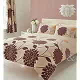 Juego de funda nórdica y funda de almohada, diseño de flores, mezcla de algodón, marrón, beige y marrón, funda de edredón doble King size