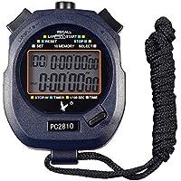 calesi Digital Professional Handheld LCD Sport Stoppuhr zweireihige 10Erinnerungen Lap