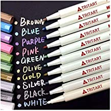 Tritart Profi Metallic Stifte Set für Fotoalbum, Scrapbook, Glatte Oberflächen   10 Metallic Marker Pens