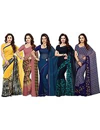 ishin Women's Faux Georgette Printed Saree, Free Size (Multicolour, Combosr-14014) - Combo of 5