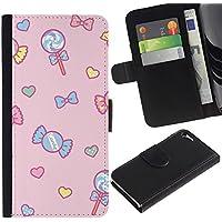 LASTONE PHONE CASE / Lusso Portafoglio del Cuoio di vibrazione del Titolare della carta Flip Custodia per Apple Iphone 5 / 5S / candy lollipop heart valentines pink