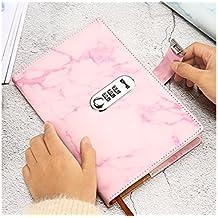 JxucTo Creativo Diario personal Nota Libro de cuentas de mano Cuadernos y diarios escolares Libros de papel con contraseña (Rosa)