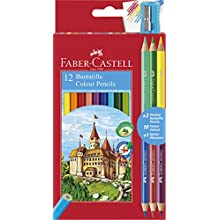 Faber-Castell 110312 Colour Pencil with 3 Bi-Colour Pencil/Sharpener (Pack of 12)