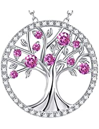 """GinoMay""""The Tree of Life"""" Necklace October Birthstone Created Pink Tourmaline Sterling Silver Jewellery Birthday Gift for Her,Elegant Gift Box,Allergen-free,45+5cm Extender"""