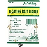 Jed Welsh Fishing 3 Pack Floating Bait Leader Size 14 Hook Rigs With #14 Hooks, Pre-Tied Ready To Fish-3 Pack, Clear