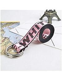 7ef8f95fc FidgetGear Fashion Women Off White Letters Casual Nylon Belt Waistband  Webbing Buckle Belt Pink
