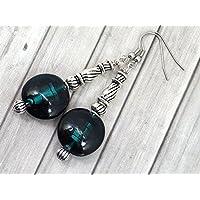Boucles d'oreilles Venezia en acier inoxydable et perles plates en verre de Murano vert foncé