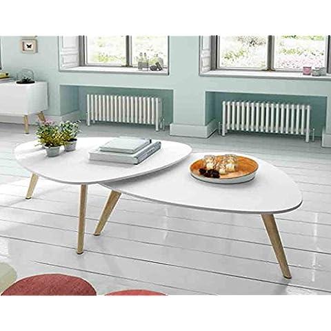 Mesas de centro de madera(Set 2 unidades) : Modelo SUECIA de 100(70)x40(30)x50(35)