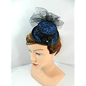 Mini Sommerhut blau Fascinator Damenhut Steampunk Hütchen