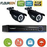 FLOUREON Kit de Surveillance 1 X 4CH HD 720P AHD DVR - Lot de 2 Caméras de Sécurité 2000 Linges 960P 1.3MP Jour/Nuit Etanche Système CCTV