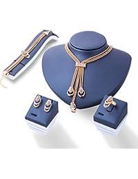 d42bef1a18a0cc Freessom Parure Bijoux Femme Fantaisie Kit 4 Boucle d oreille Bracelet  Bague Collier Gros Ras