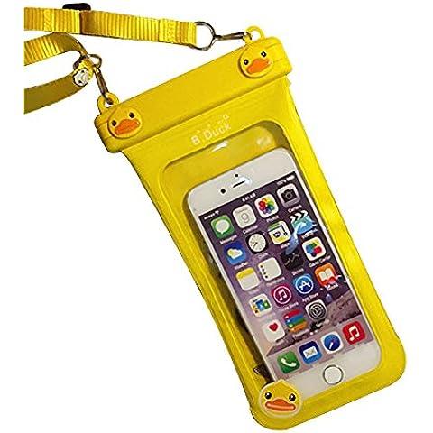SHANGRUN Modello Anatra Sveglia del Fumetto Universale Sacchetto Impermeabile Impermeabile per Spiaggia/Pesca, Nuoto Viaggio Sacchetto Impermeabile di Copertura per iPhone 6s / 6s plus / 6 / 6 plus / 5s / 5c / 5, Samsung s6 / s6 edge / s5 / s4/ MEIZU Mx4 Pro/ Vivo x5 max/ Huawei P8 Lite/ HTC One X/ Galaxy Note 4ed Altri Smartphone, ecc. Giallo