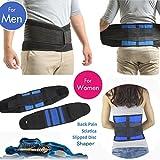 Ajustable transpirable neopreno doble tirador lumbar apoyo inferior de la espalda Brace Cinturón Ejercicio Shaper, Blue&Black, large