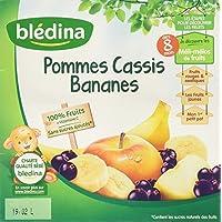 Blédina 100% Fruits Pommes Cassis Bananes en Coupelle dès 8 Mois 400 g