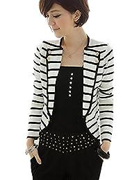 Fashion Womens Slim Fit Striped Blazer Jacket Short Blazer Suit