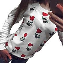 FEITONG mujeres Manga larga Búho lindo Imprimir Camiseta Top Casual Blusa Camisa
