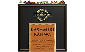The Tea Heaven- Kashmiri Kahwa-Blended with Almonds, Saffron, Spices- 100 % Natural Ingredients- 18 Tea Bags(2 Free Samples)