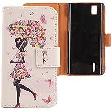 Lankashi PU Flip Funda De Carcasa Cuero Case Cover Piel Para Huawei Ascend P2 Umbrella Girl Design