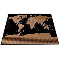 Scratch Off Map, Detailed Deluxe Travel World Map Poster for Home Office Decoration