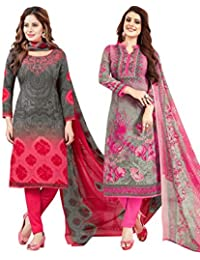 S Salwar Studio Women's Pack of 2 Synthetic Printed Unstitched Dress Material Combo(SOM-0047902_Multi_FS)