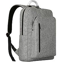 Mochila Portátiles 15.6, REYLEO Morrales Impermeables Laptop Backpack Para Hombre Mujer Estudiante Tipo Casual al Negocio Trabajo Casual 19L Gris Claro