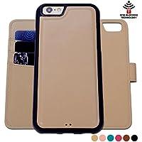 Custodia iPhone 6 Plus 6S Plus, SHANSHUI staccabile Case in Pelle Con Magnete Supporto Stand in blocco RFID Portafoglio Porta Carte e Protettiva Flip Portafoglio Flip Case (Cachi Khaki) - Ivory Pearl Carta