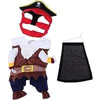 Pixnor–mascotas gato perro ropa Disfraz Pirata traje ropa con sombrero tamaño s