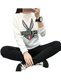 HENGSONG Femmes Hiver Cartoon Lapin Chandail Epais Pull Couverture Sweat-shirts (XXL, Blanc)