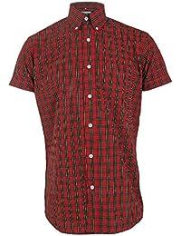Chemise à manches courtes en tartan - mod/rétro - rouge - tailles S-XXL