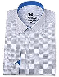 Chemise slim fit Homme blanche à motif bleu col classique