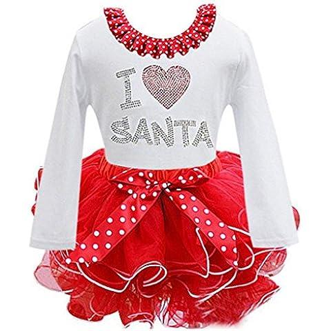 Koly_I bambini di Bowknot Dress giorno di Natale a maniche lunghe