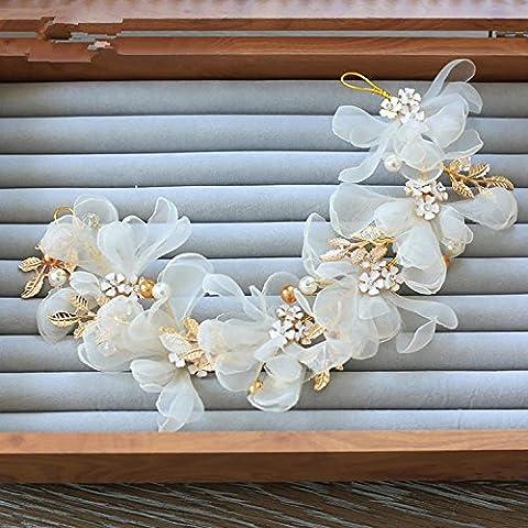 SUYU Acconciatura sposa, copricapo di banchetti, fatto a mano, filati di seta fiore testa, fasce per capelli, fasce per capelli, gioielli fiori , white