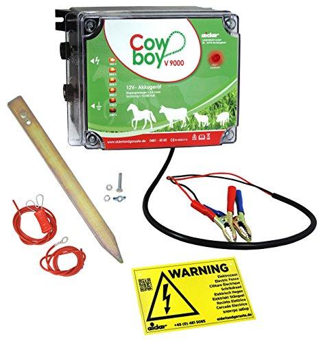 *Weidezaungerät Cowboy V9000 – 12 V – Extra Power : 10000 Volt – Unser stärkstes Batteriegerät mit bester Hütesicherheit inkl. Zubehörset*