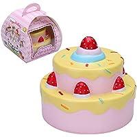 """VLAMPO Squishy stress Giocattoli Squishies Profumato torta lenta molle Rising 2 strati di fragole torta di compleanno 4.3 """"1 Pezzo (giallo)"""
