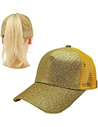 50d9746d7567 Leegoal Chapeau de Baseball de Queue de Cheval, (TM) Réglable Mesh Trucker  Baseball Hat des Sequins Brillants Le Baseball au Golf…