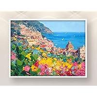 Positano Painting on Canvas Original Italy Amalfi Coast Wall Art Home Decor Gift