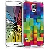 kwmobile Funda para Samsung Galaxy S5 / S5 Neo / S5 LTE+ / S5 Duos - Case para móvil en TPU silicona - Cover trasero Diseño arco iris dado en multicolor verde azul