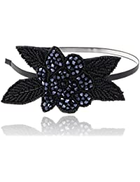 Alilang Flirty flapper Perles Effet cristal noir Fleur bleue Bandeau