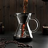 KITCHY 400ml Pour Over Coffee Manual Drip Coffee Maker With Stainless Steel Filter Fine Mesh Tea Kettle Coffee Tea Tools