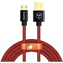 2 Pack 1M de cable Micro USB Cable Reversible Doble Dara trenzado de Nylon trenzado de datos para dispositivos Android, Samsung Galaxy S6, S6 Edge, S5, note 4, note 5, LG G3 / G4 por YONTEX (2 Paquete)