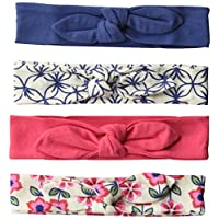 Touched by Nature Baby Girls' Organic Cotton Headbands, Flower 4-Pack, One Size