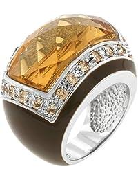 Luxuriöser Ring mit champagnerfarbenen Zirkonia Diamanten und Emaille, 14 Karat Weißgold Vermeil