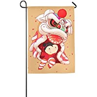 YATELI Pingshoes Personalized æœªæ ‡Lion Dance Chinese Winter Lawn Yard House Garden Flags 12x18 Inches All-Weather Polyester Decorative
