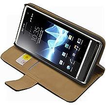 Negra Funda de Cuero para Sony Ericsson Xperia S - Flip Case Cover + 2 Protectores de Pantalla