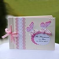 Personalisiertes Gästebuch Album Fotobuch Kommunionbuch Taufbuch Buch rosa A5 binnbonn