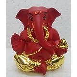 Gold Deep Red Appu Ganesha/ Gold Plated Lord Ganesh (5 X 3 X 4 Cm)/ Ganesha Online/ God Ganesh Idol/ Vinayaka Idol/ Gold Ganesha/ Vinayaka Statue/ Car Ganesh/ Car Dashboard Ganesha/ Ganesh Murti/ Ganesh Online Shopping