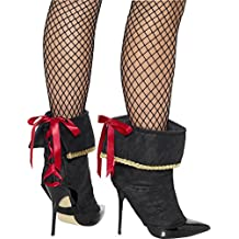 Smiffys Damen Piraten Stiefel Überzieher mit Spitze, One Size, Schwarz, 45546
